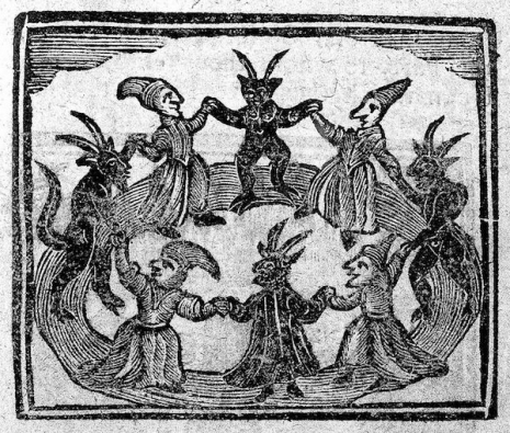 demons and witches in a circle