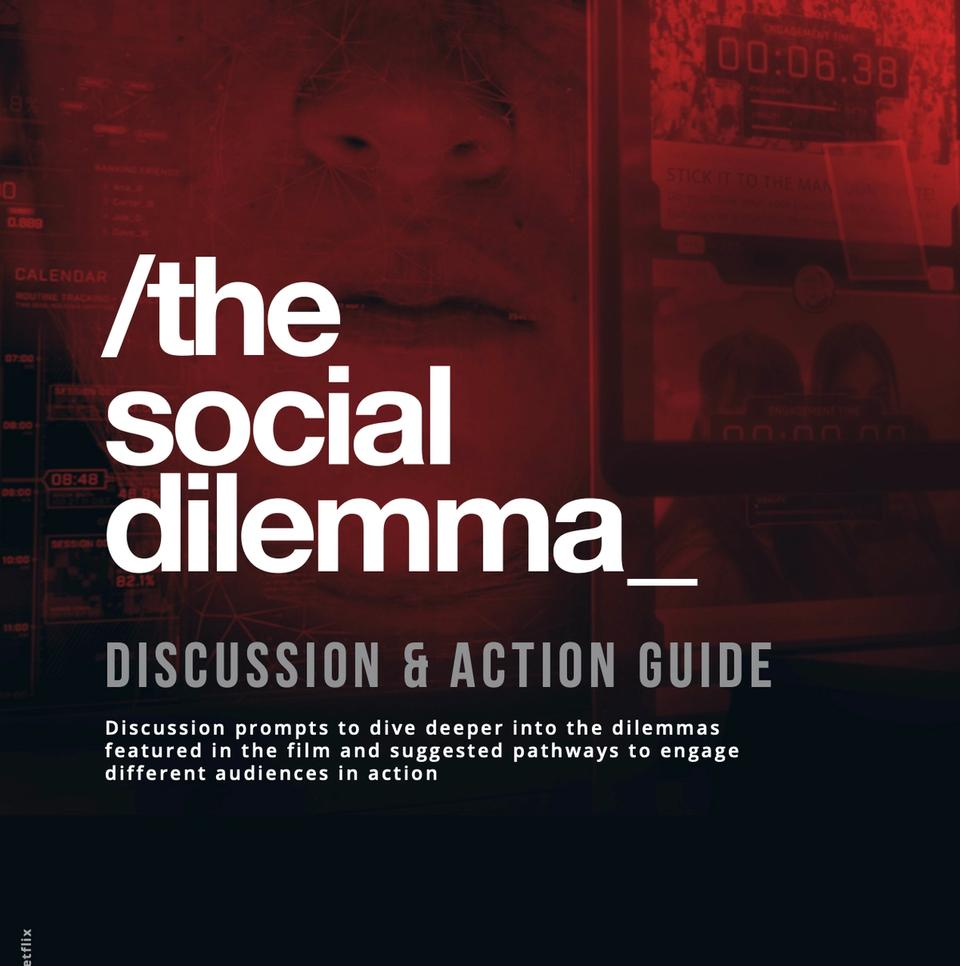 white text on red and black background: the social dilemma discussion & action guide