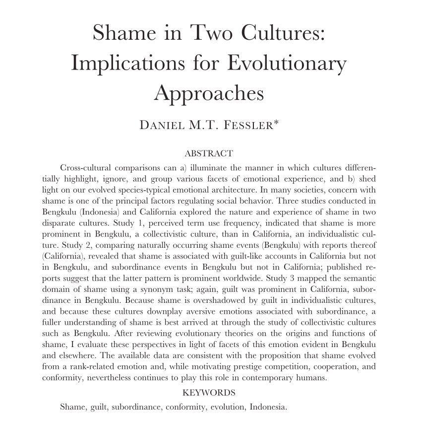 white background with black text: Shame in Two Cultures Abstract