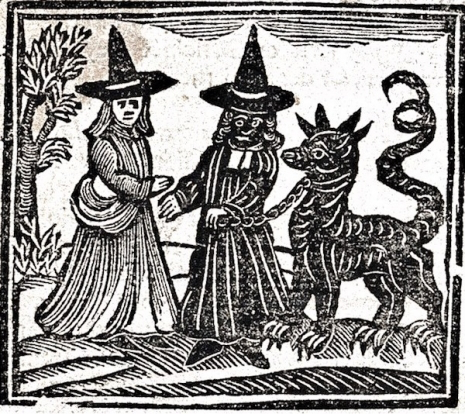 medieval woodcut of two witches and a demon