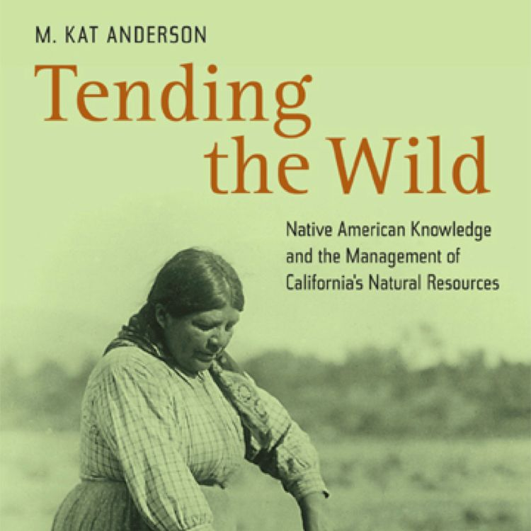 book cover: text over green image of indigenous woman farming: M. Kat Anderson Tending The Wild Native American Knowledge and the Management of California's Natural Resources