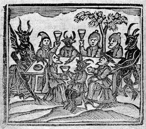 medieval woodcut witches and demons on brooms