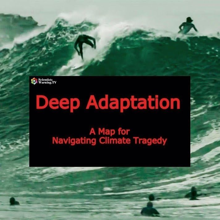red text on black background with people surfing: Deep Adaptation A Map for Navigating Climate Tragedy