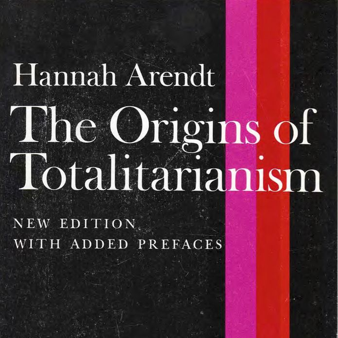 white text on black background with pink and red stripe: the origins of totalitarianism