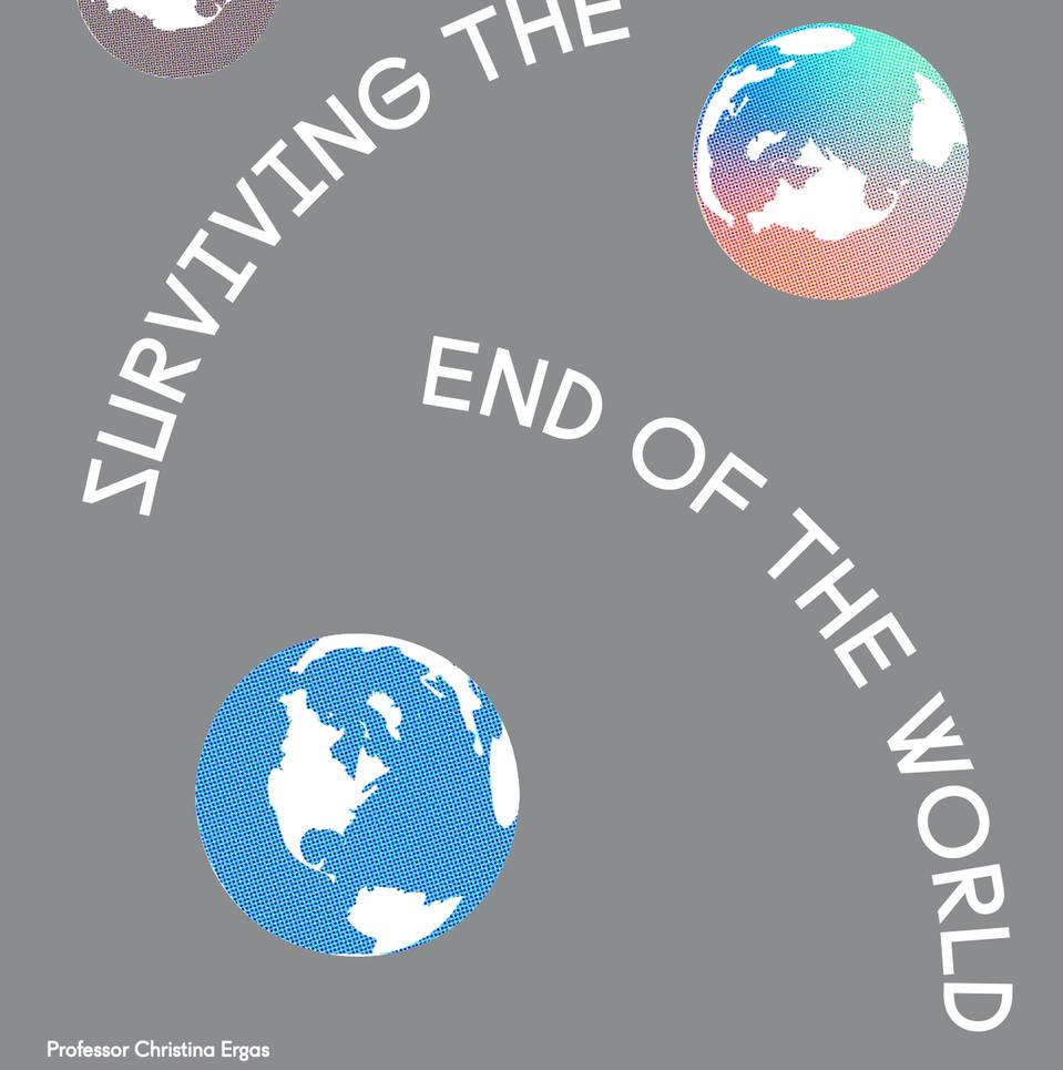 white text on gray background: surviving the end of the world