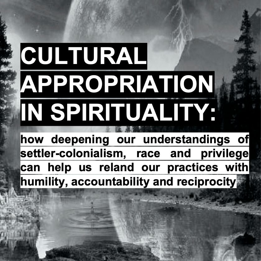 black and white abstract landscape with text: Cultural Appropriation in Spirituality
