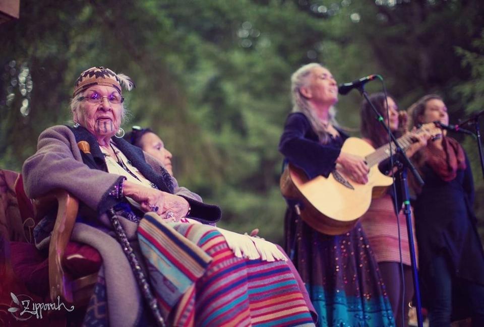 Grandma Aggie, Agnes Baker Pilgrim, on stage at Beloved