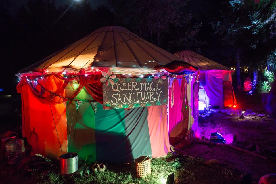 Queer Earth Sanctuary at night