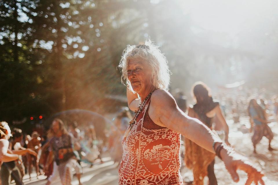 older person dancing at Beloved